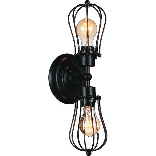 Tomaso 5 inch 2 Light Wall Sconce with Black Finish