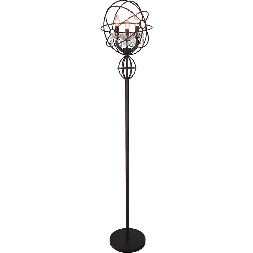 CWI Lighting Campechia 14 inch 3 Light Floor Lamp with Brown Finish