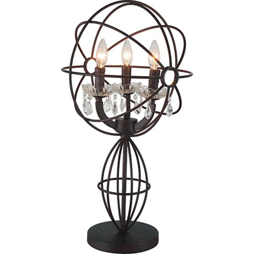 "CWI 14"" Campechia 3 Lumière Lampe de table avec Fini marron"