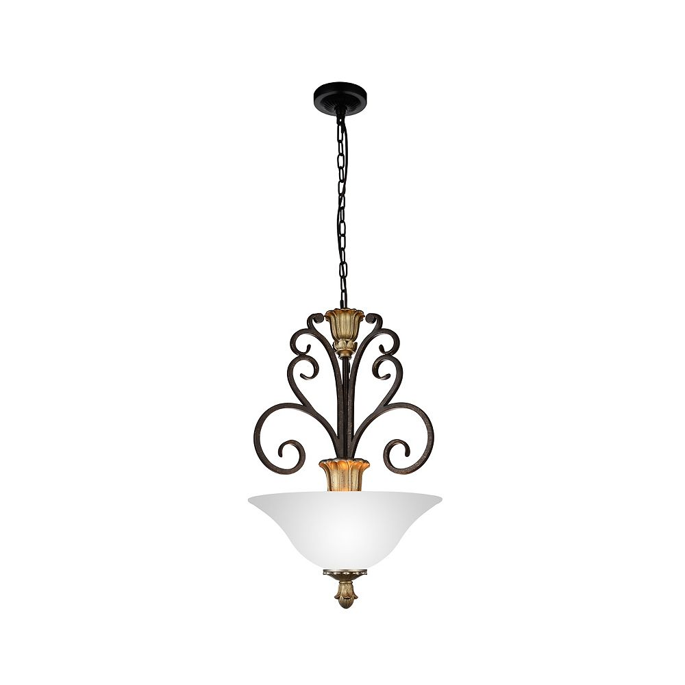 CWI Lighting Presley 16 inch 3 Light Chandelier with Ebony Gold Finish