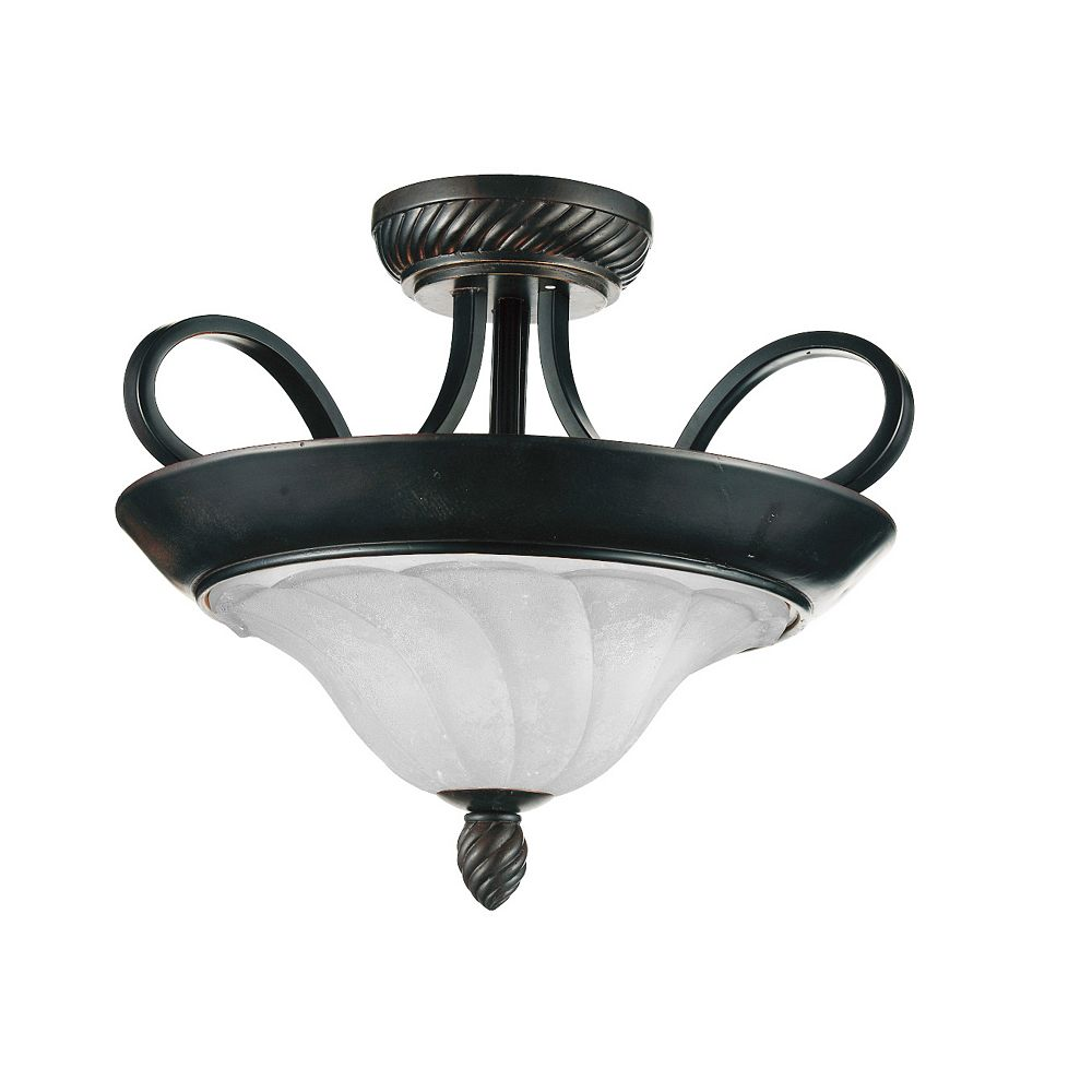 CWI Lighting Barley 17 inch 2 Light Flush Mount with Standard Dark Bronze Finish