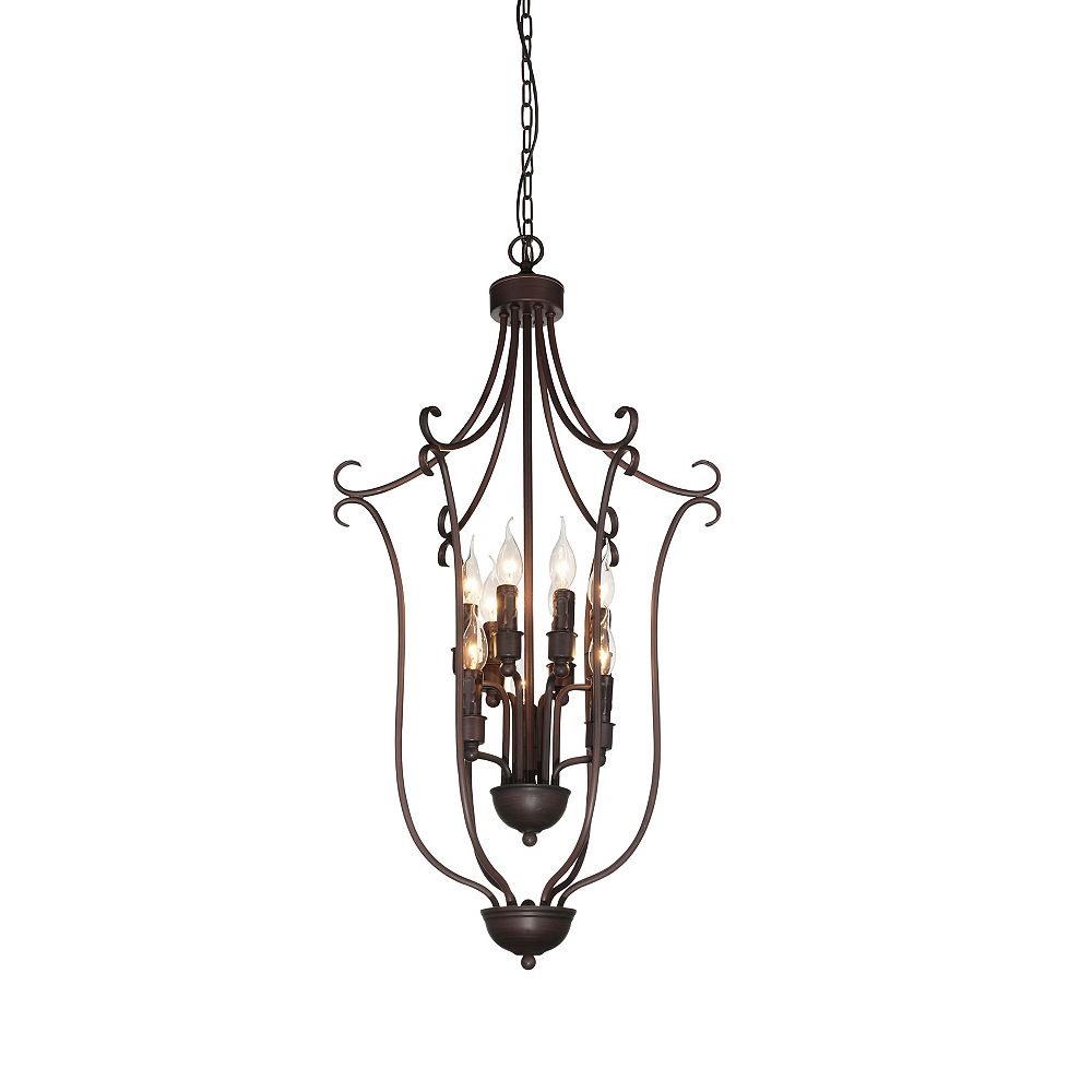 CWI Lighting Maddy 19-inch 9-Light Chandelier with Rubbed Brown Finish