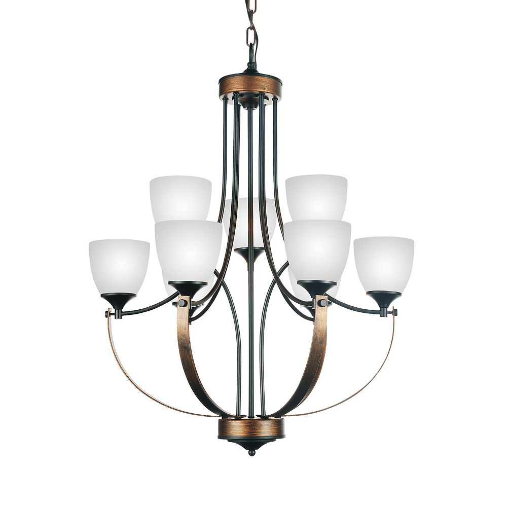 CWI Lighting Solis 28 inch 9 Light Chandelier with Brushed Golden Brown Finish