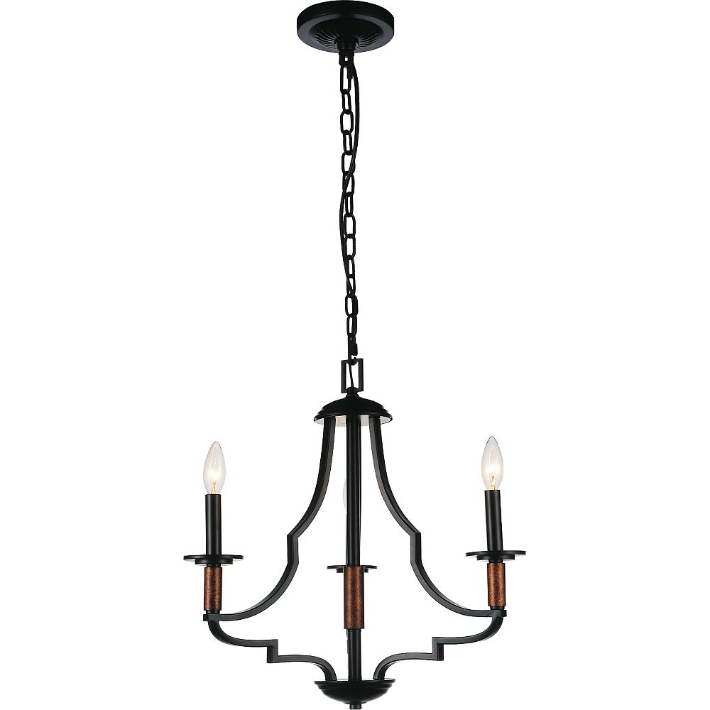 CWI Lighting Scarlet 20 inch 3 Light Chandelier with Black Finish
