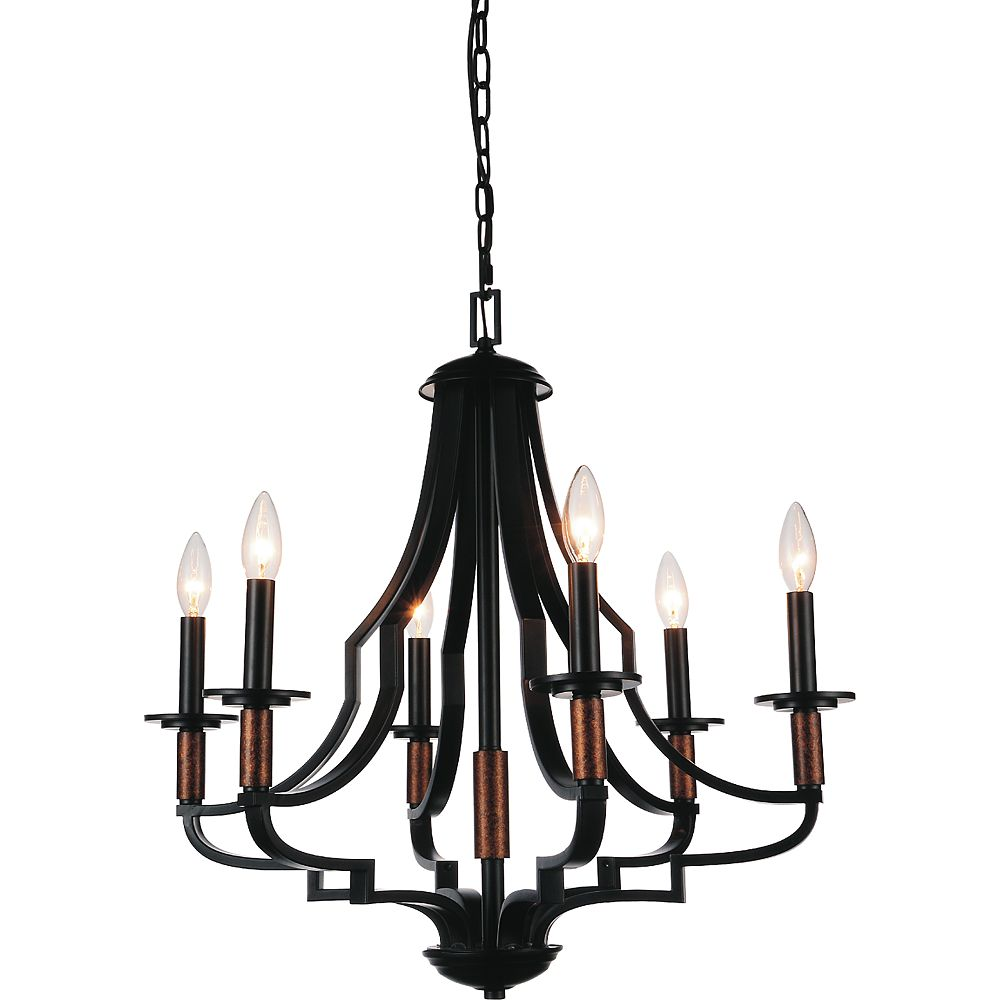 CWI Lighting Scarlet 24 inch 6 Light Chandelier with Black Finish
