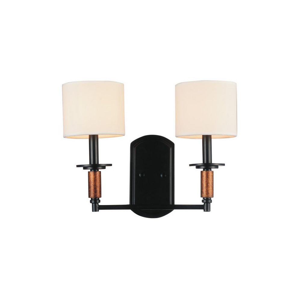 CWI Lighting Sia 16 inch 2 Light Wall Sconce with Black Finish