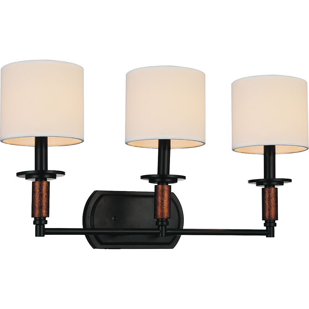 CWI Lighting Sia 24 inch 3 Light Wall Sconce with Black Finish