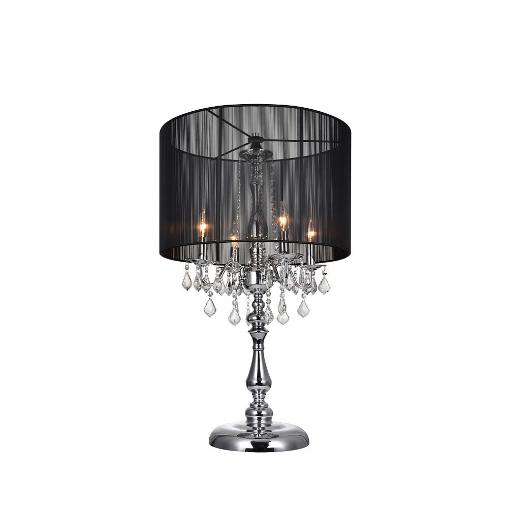 CWI Lighting Sheer 20-inch 4 Light Table Lamp with Chrome Finish