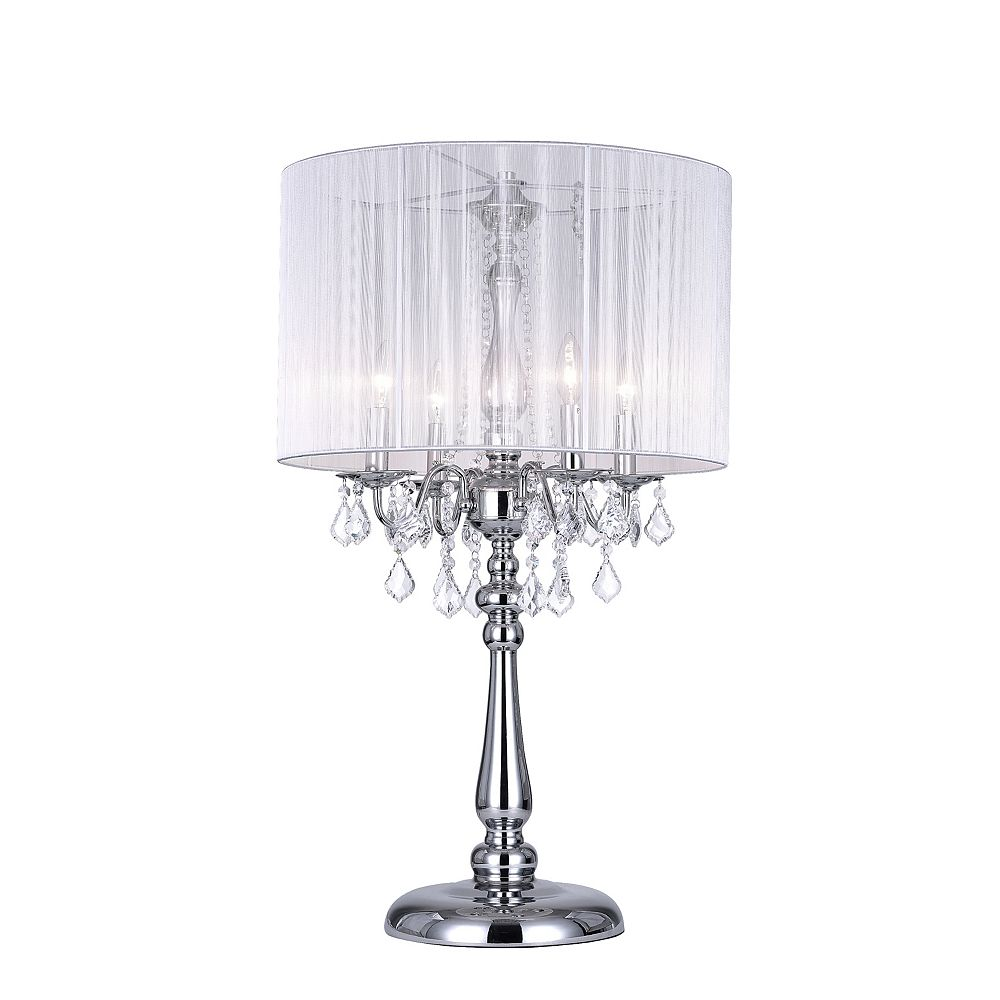 CWI Lighting Sheer 20 inch 4 Light Table Lamp with Chrome Finish
