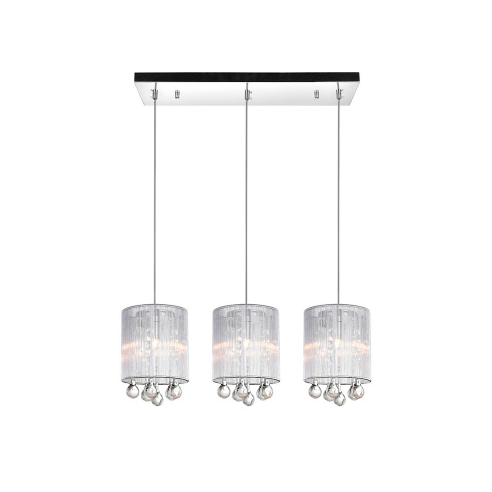 CWI Lighting Water Drop 24-inch 3 Light Chandelier with Chrome Finish