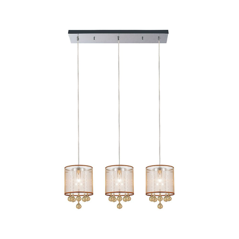 CWI Lighting Radiant 24-inch 3 Light Chandelier with Chrome Finish