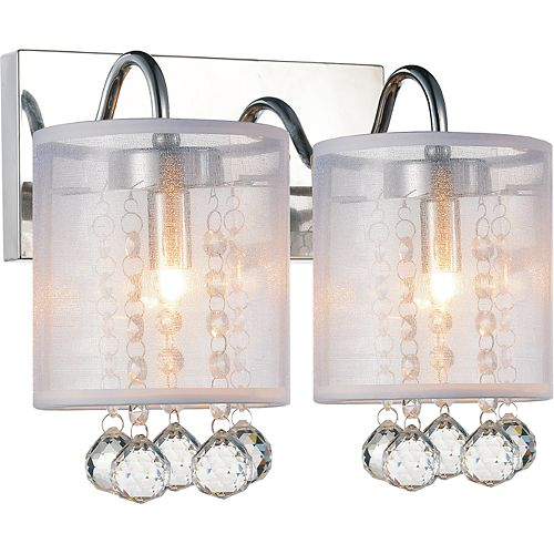 CWI Lighting Radiant 12 inch Two Light Wall Sconce with Chrome Finish