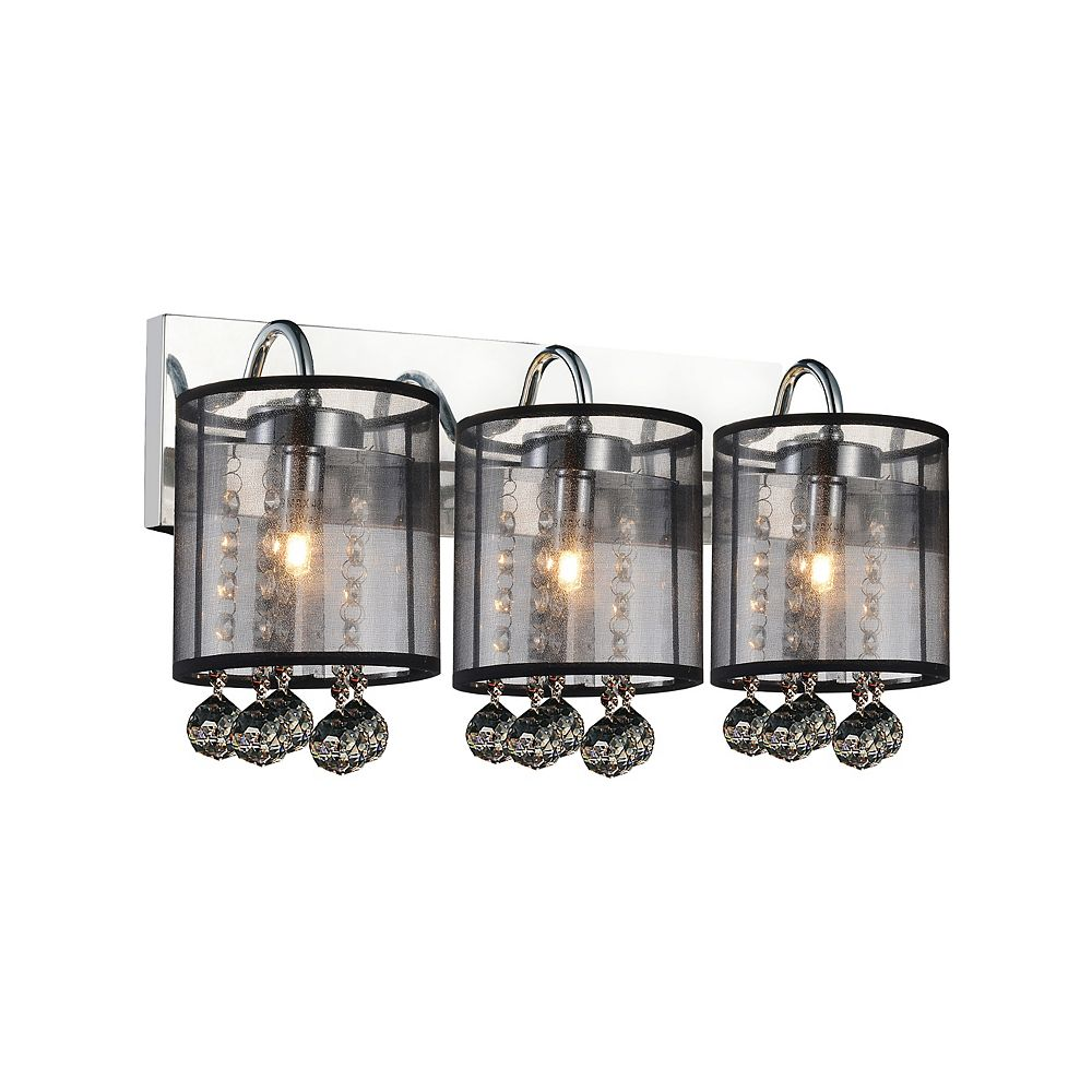 CWI Lighting Radiant 18 inch 3 Light Wall Sconce with Chrome Finish