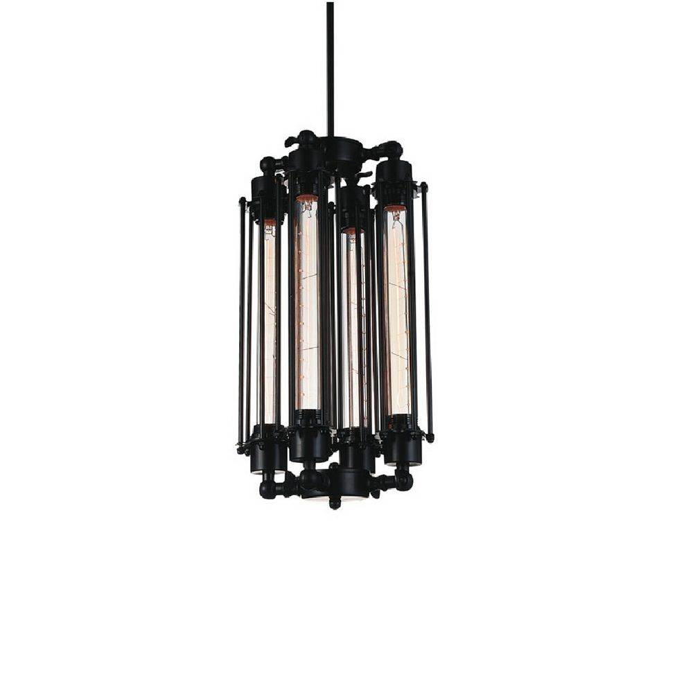 CWI Lighting Kiera 10 inch 4 Light Mini Pendant with Black Finish