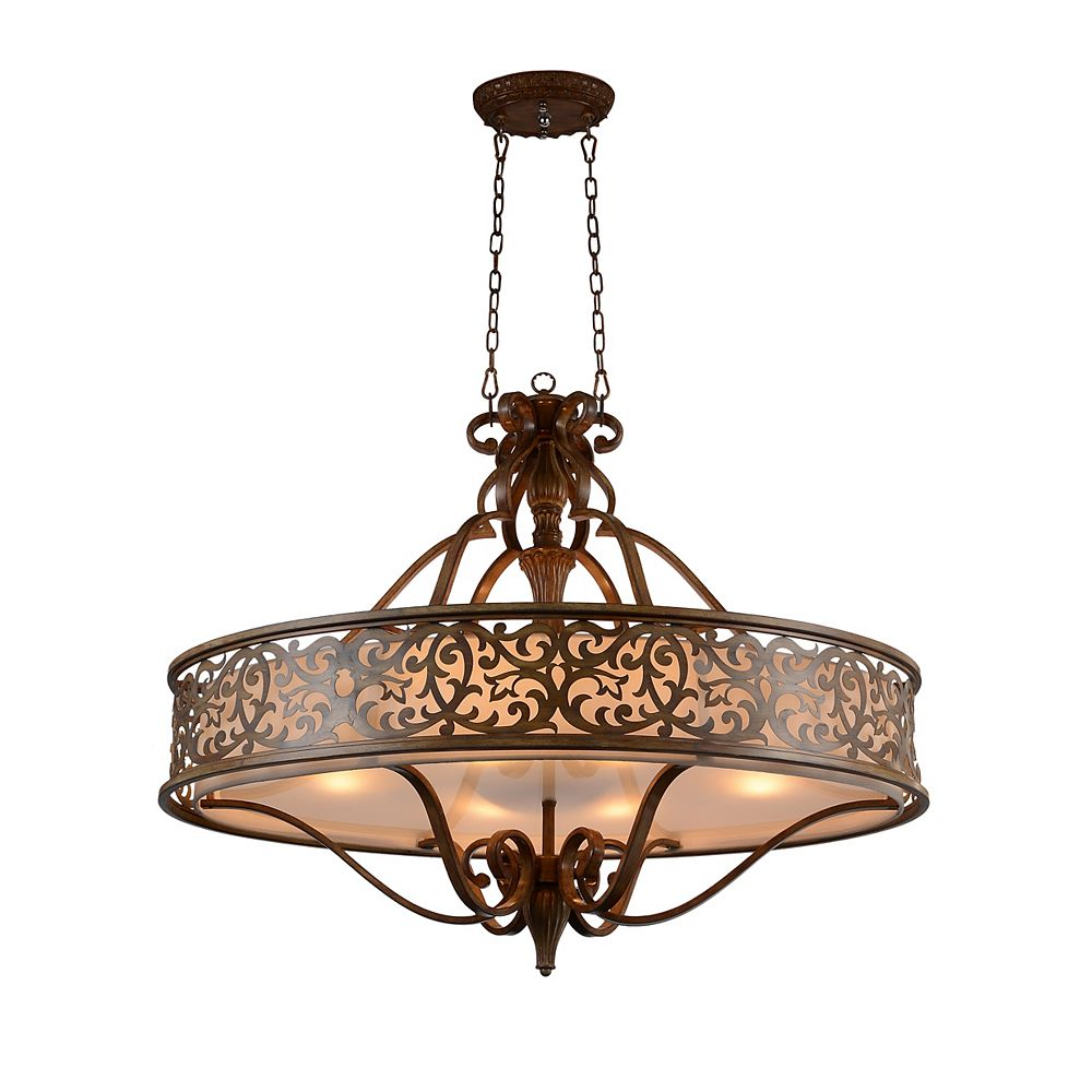 CWI Lighting Nicole 39 inch 6 Light Chandelier with Brushed Chocolate Finish