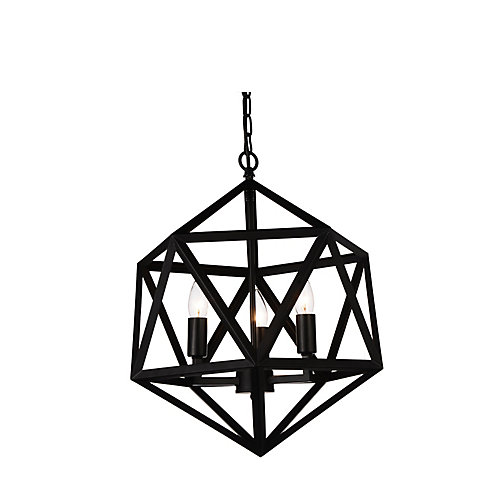 Amazon 17-inch 3-Light Chandelier in Black