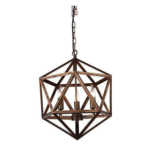 Lustre candélabre à 3 ampoules Amazon, 17 po, fini cuivre forgé antique