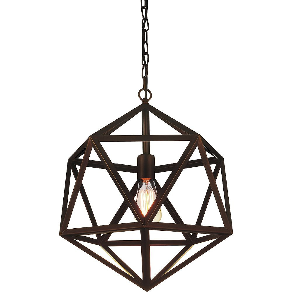 CWI Lighting Dia 20-inch 1-Light Chandelier with Antique Copper Finish
