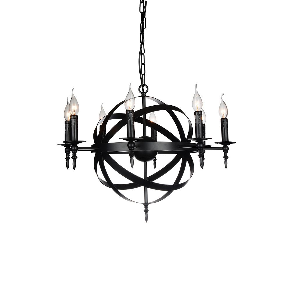 CWI Lighting Troy 28 inch 8 Light Chandelier with Black Finish