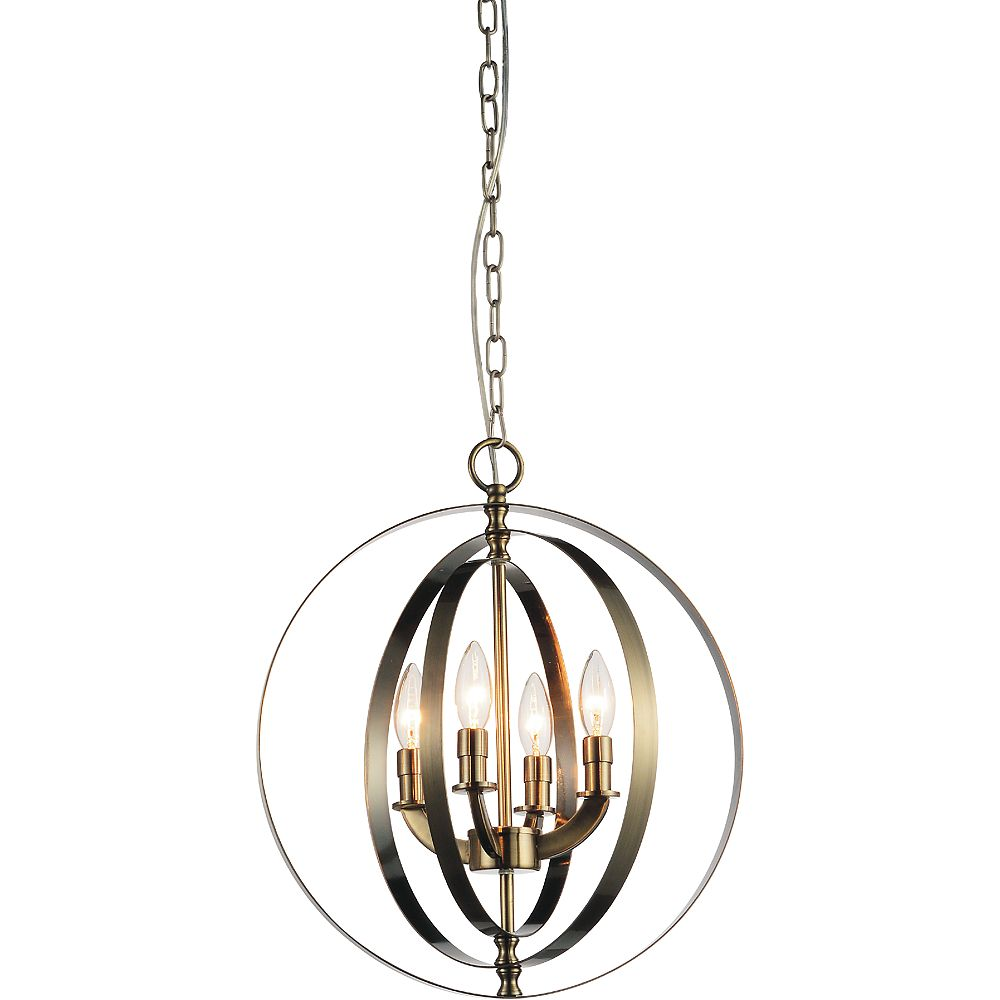 CWI Lighting Delroy 16 inch 4 Light Chandelier with Antique Brass Finish