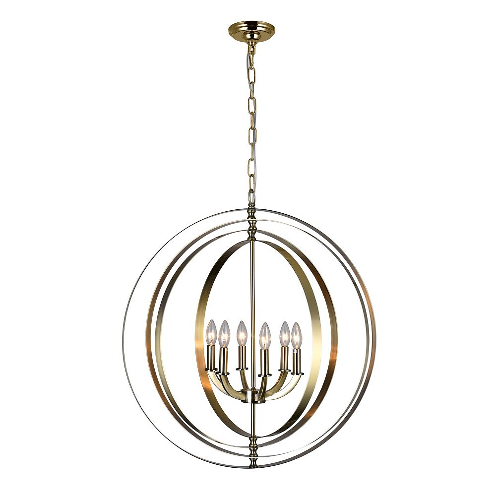 CWI Lighting Delroy 28 inch 6 Light Chandelier with Antique Brass Finish