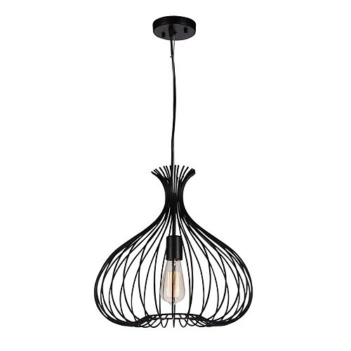 CWI Lighting Darleen 16 inch 1 Light Chandelier with Black Finish