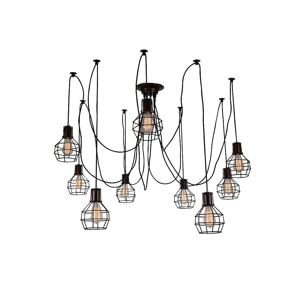 CWI Lighting Secure 31 inch 9 Light Chandelier with Chocolate Finish