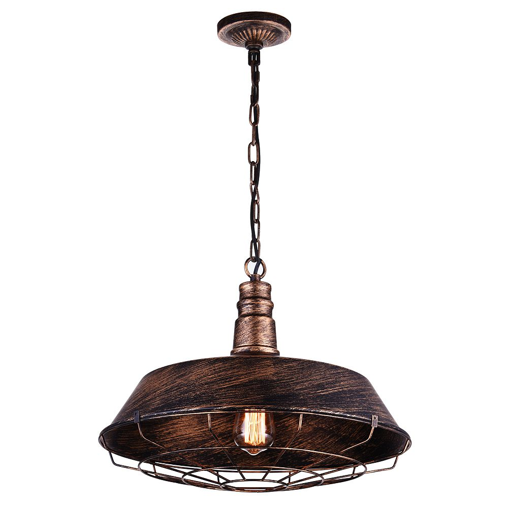 CWI Lighting Morgan 18-inch 1-Light Chandelier with Antique Copper Finish
