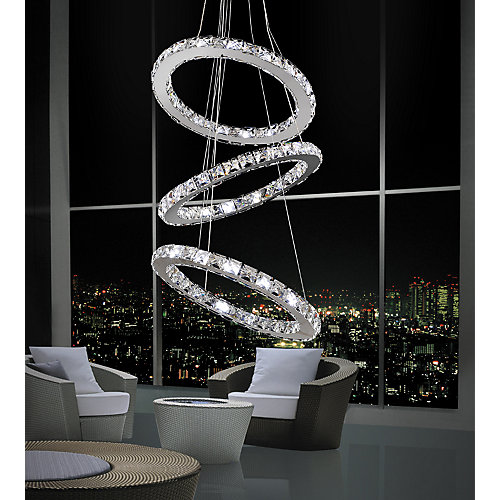 Ring 16-inch LED Chandelier with Chrome Finish