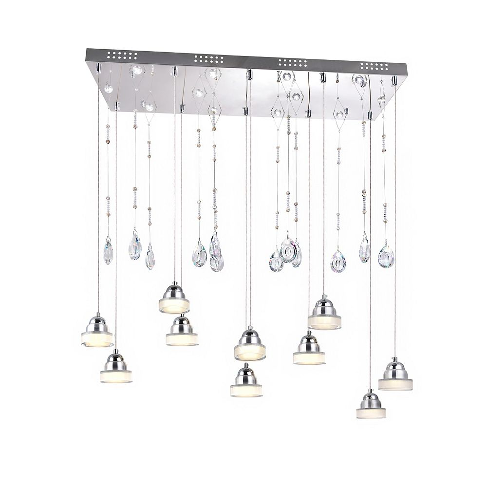 CWI Lighting Mariann 32 inch LED Chandelier with Chrome Finish