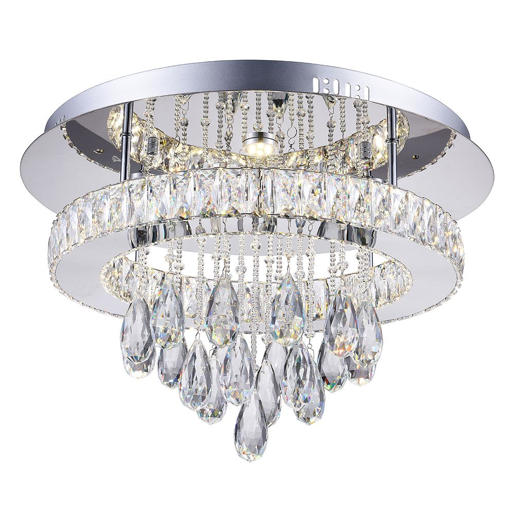 CWI Lighting Veil 20 inch LED Flush Mount with Chrome Finish