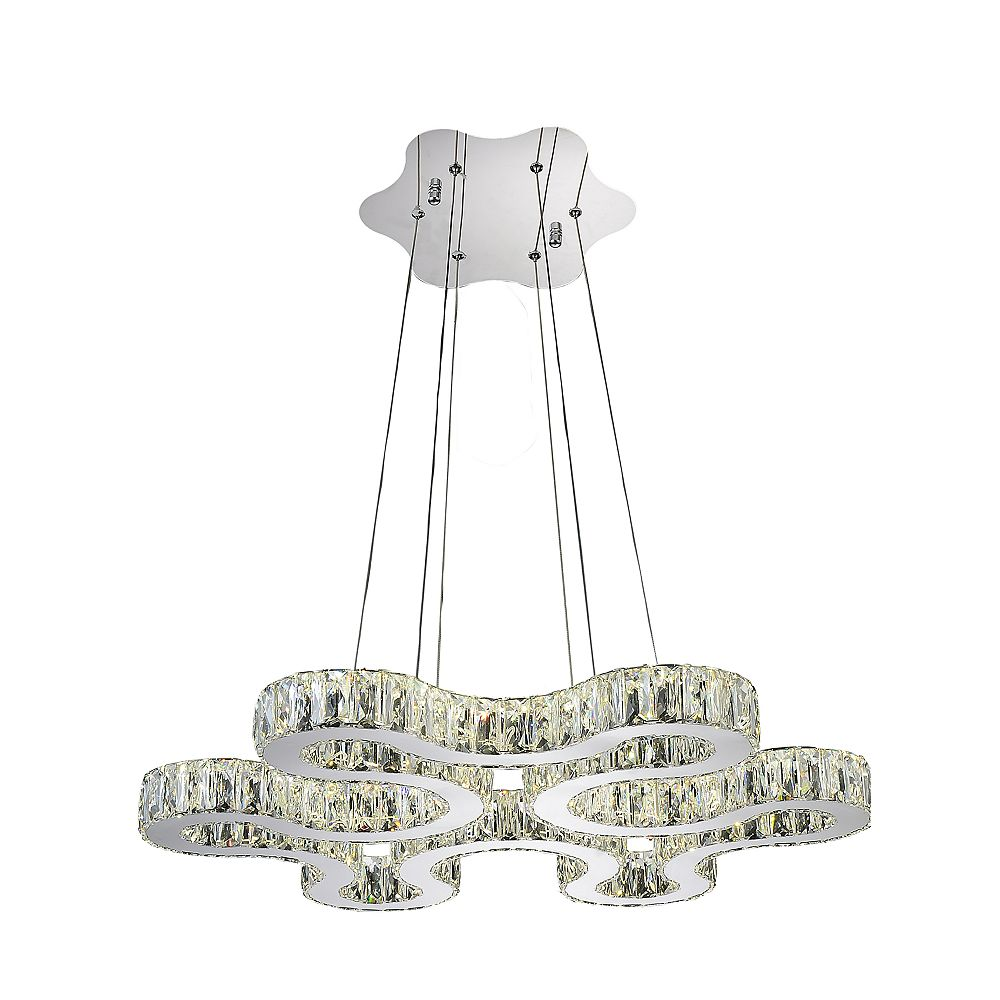 CWI Lighting Odessa 27 inch LED Chandelier with Chrome Finish