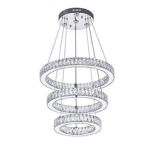 CWI Lighting Florence 20-inch LED Chandelier with Chrome Finish