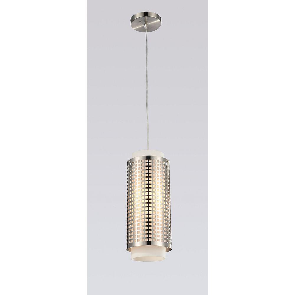 CWI Lighting Checkered 5 inch 1 Light Mini Pendant with Satin Nickel Finish