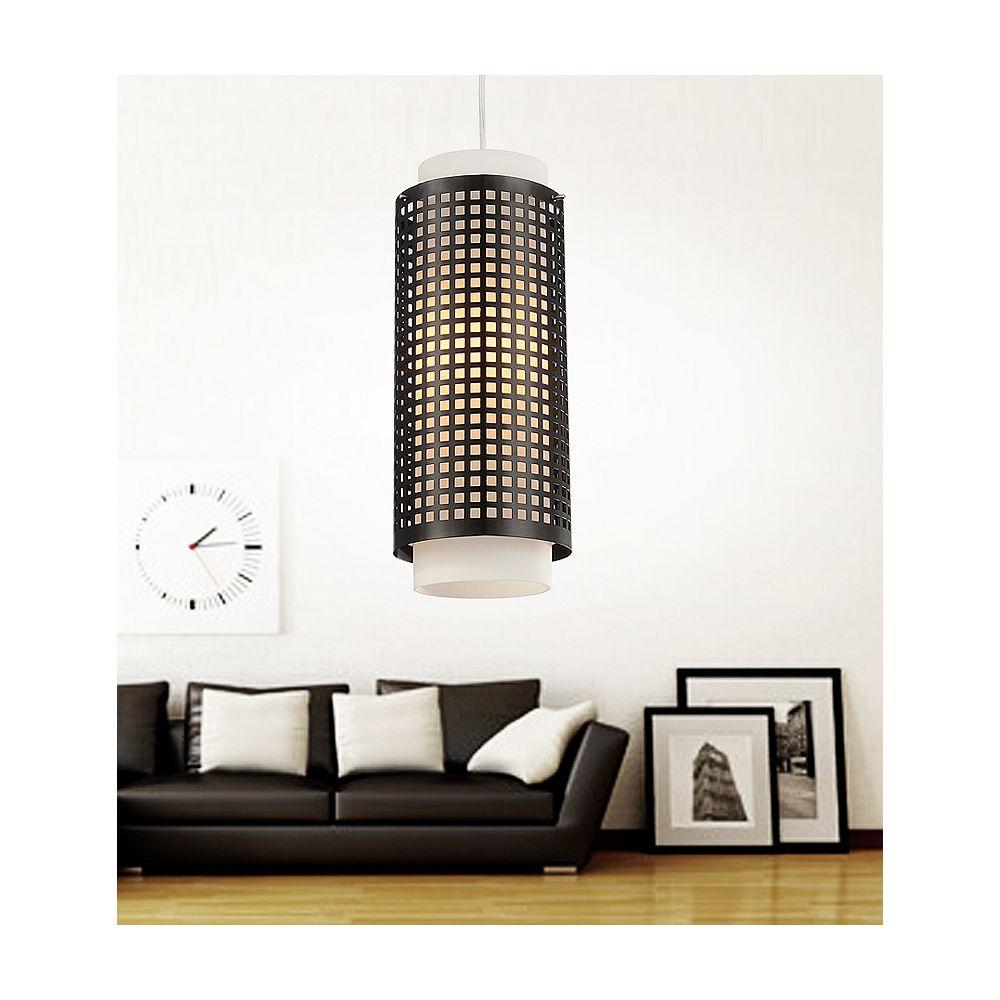 CWI Lighting Checkered 6 inch 1 Light Mini Pendant with Black Finish
