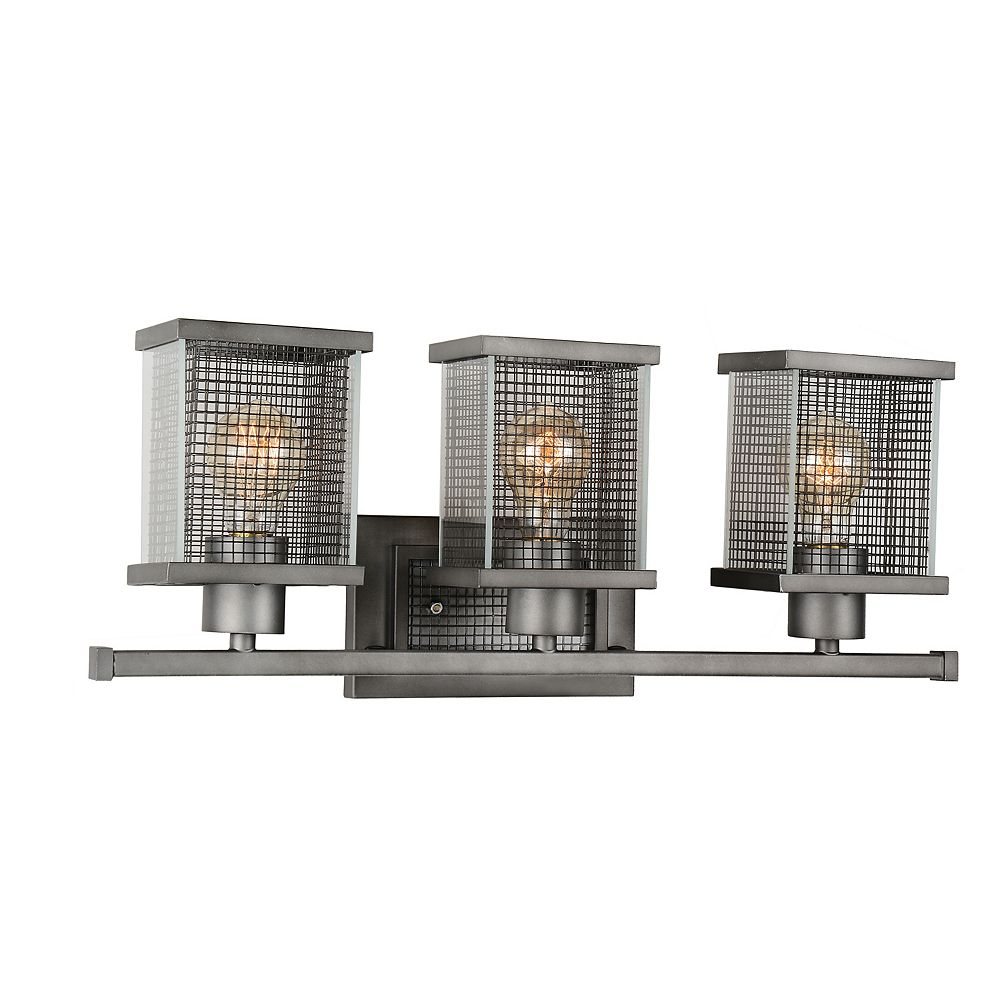 CWI Lighting Monroe 6 inch 3 Light Wall Sconce with Black Silver Finish