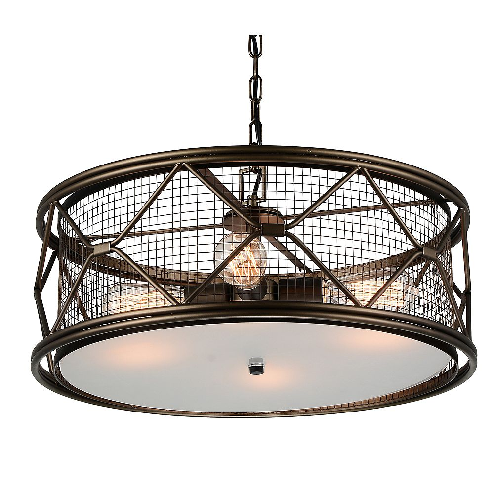 CWI Lighting Kali 22 inch 4 Light Chandelier with Light Brown Finish