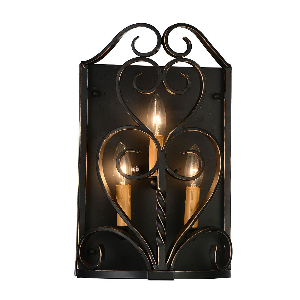 CWI Lighting Branch 4 inch 3 Light Wall Sconce with Autumn Bronze Finish