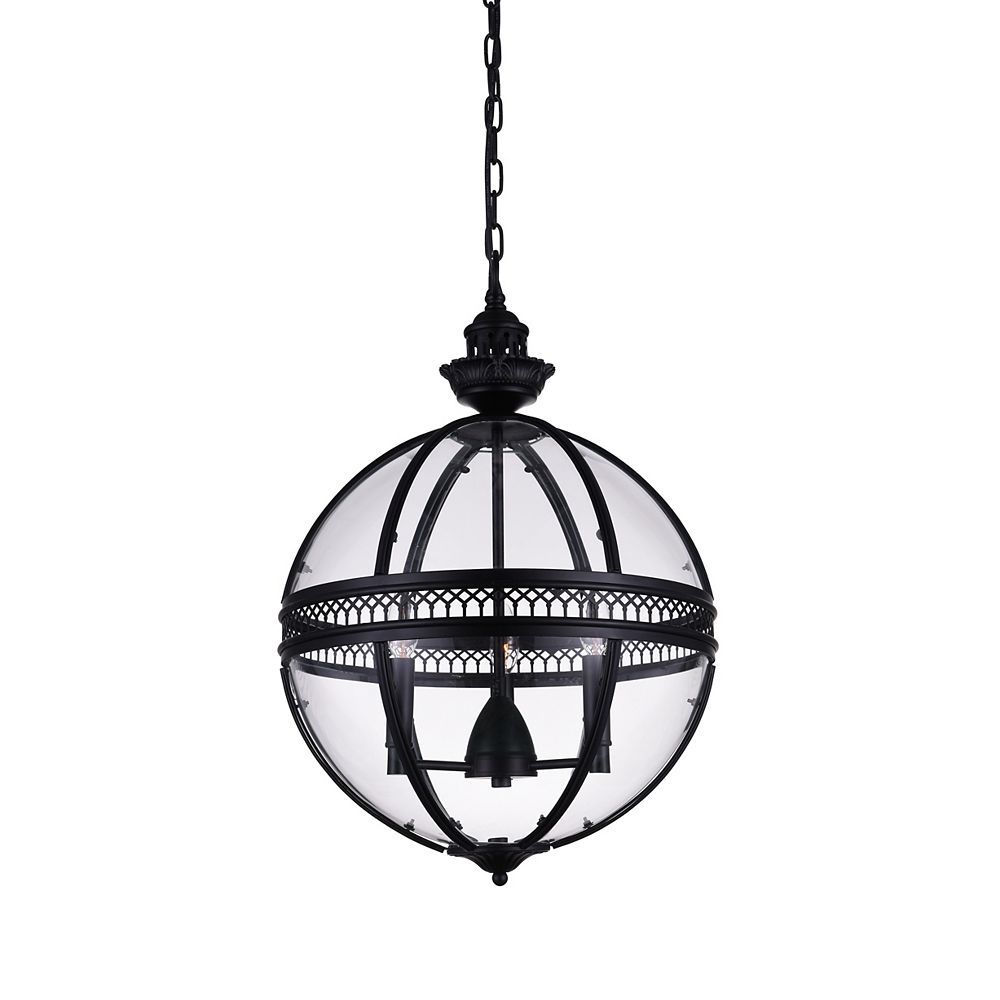 CWI Lighting Lune 12 inch 3 Light Mini Pendant with Black Finish