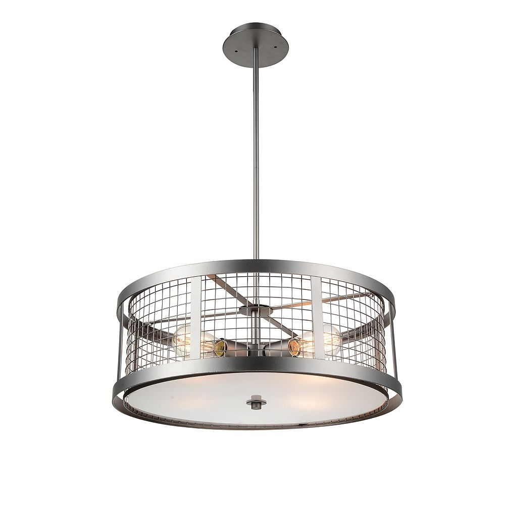 CWI Lighting Manito 22 inch 4 Light Chandelier with Pewter Finish