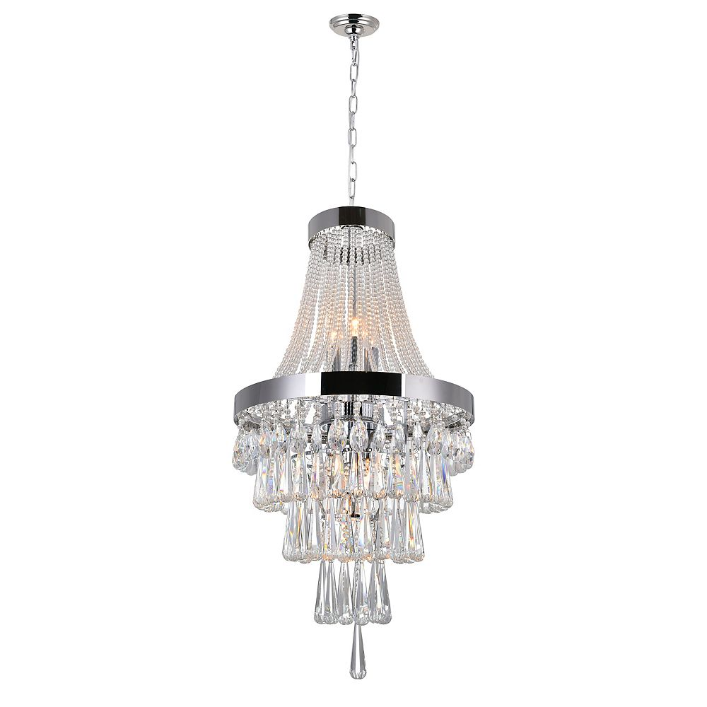 CWI Lighting Vast 16 inch 6 Light Chandelier with Chrome Finish