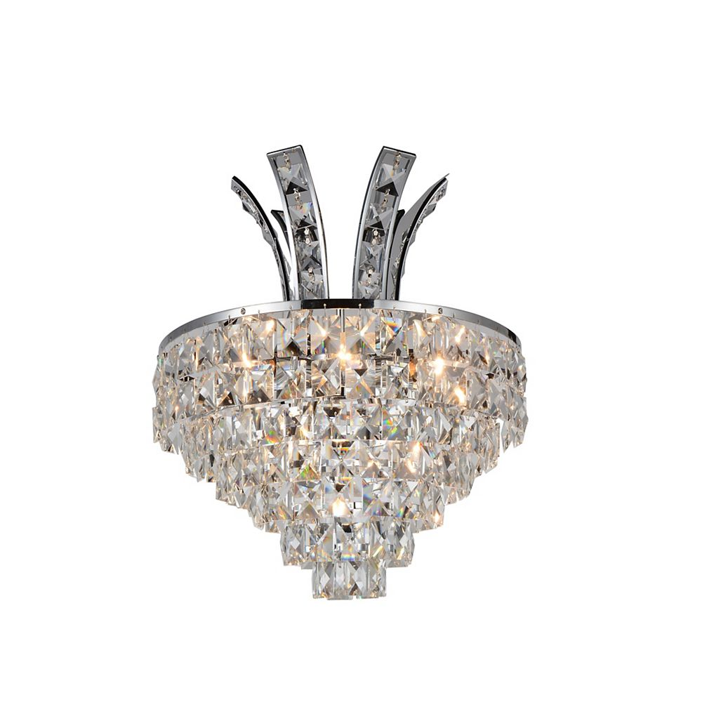 CWI Lighting Chique 12 inch 3 Light Wall Sconce with Chrome Finish
