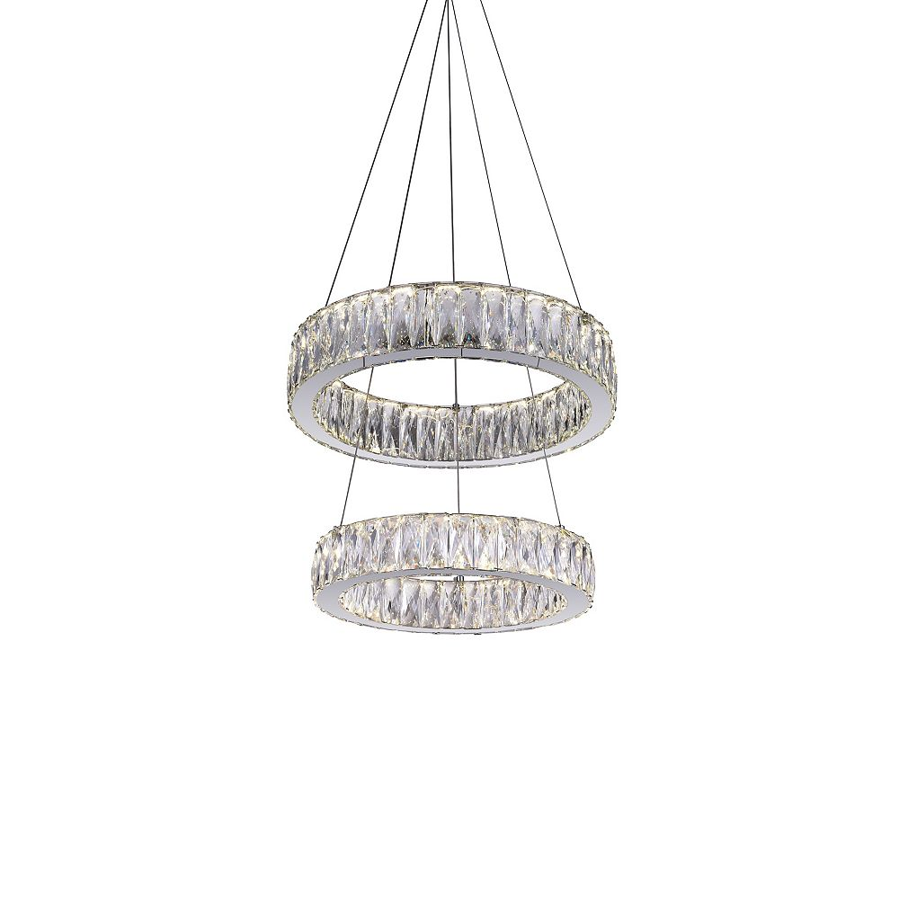 CWI Lighting Juno 20 inch LED Chandelier with Chrome Finish