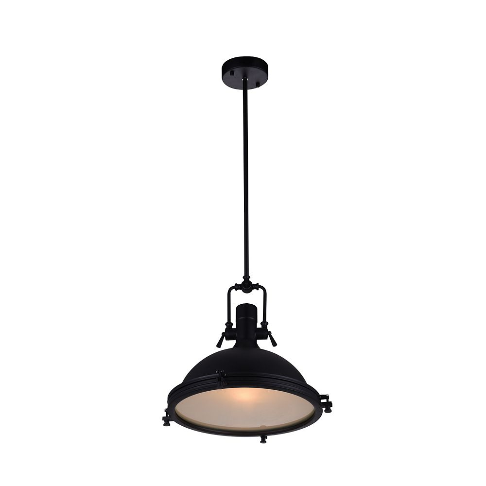 CWI Lighting Show 16 inch 1 Light Chandelier with Black Finish