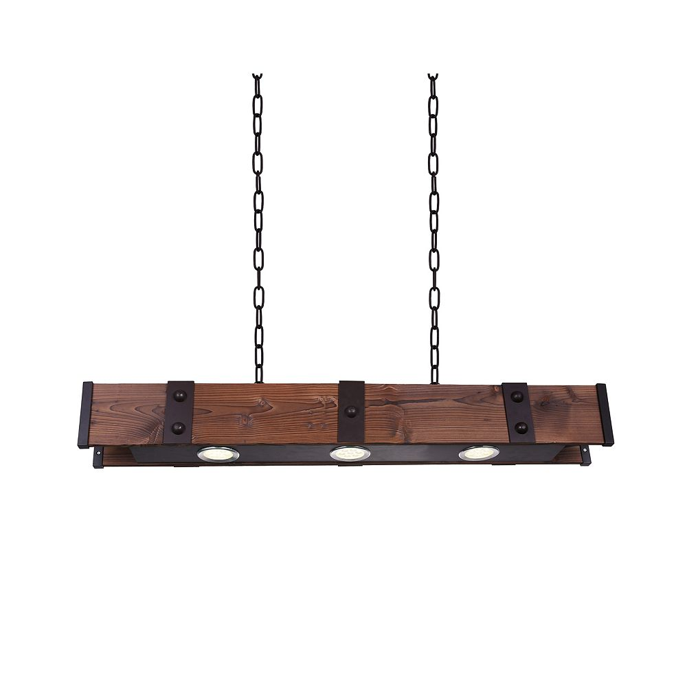 CWI Lighting Pago 42 inch 3 Light Chandelier with Black Finish
