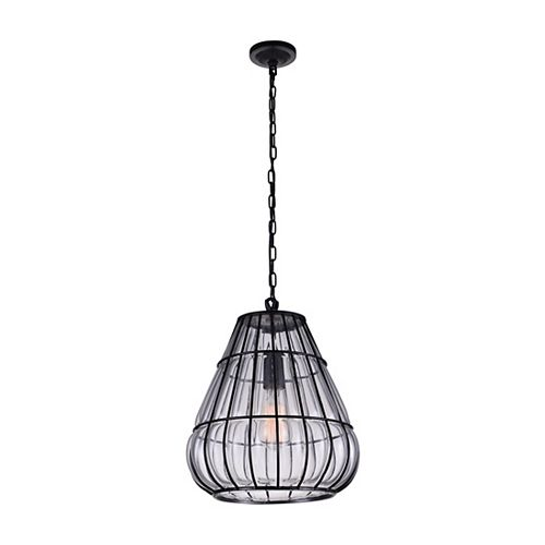 CWI Lighting Escot 12 inch Single Light Chandelier with Black Finish