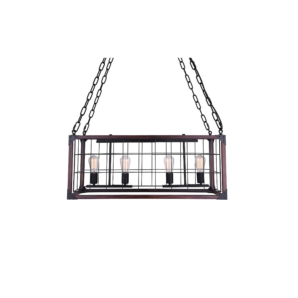 CWI Lighting Fetto 32 inch 4 Light Chandelier with Black Finish