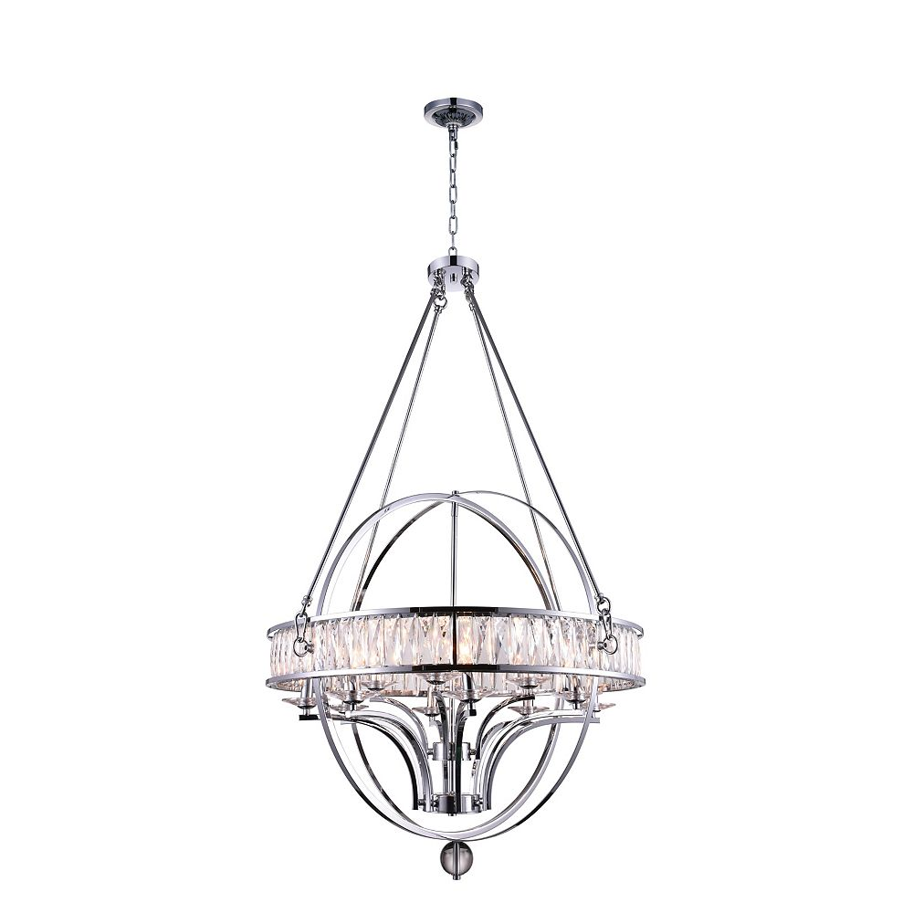 CWI Lighting Arkansas 42 inch 12 Light Chandelier with Chrome Finish