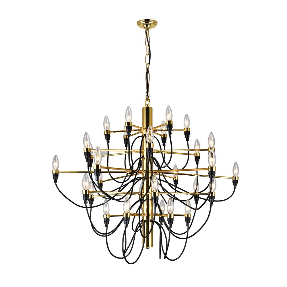 CWI Lighting Hayden 34 inch 30 Light Chandelier with Gold Finish