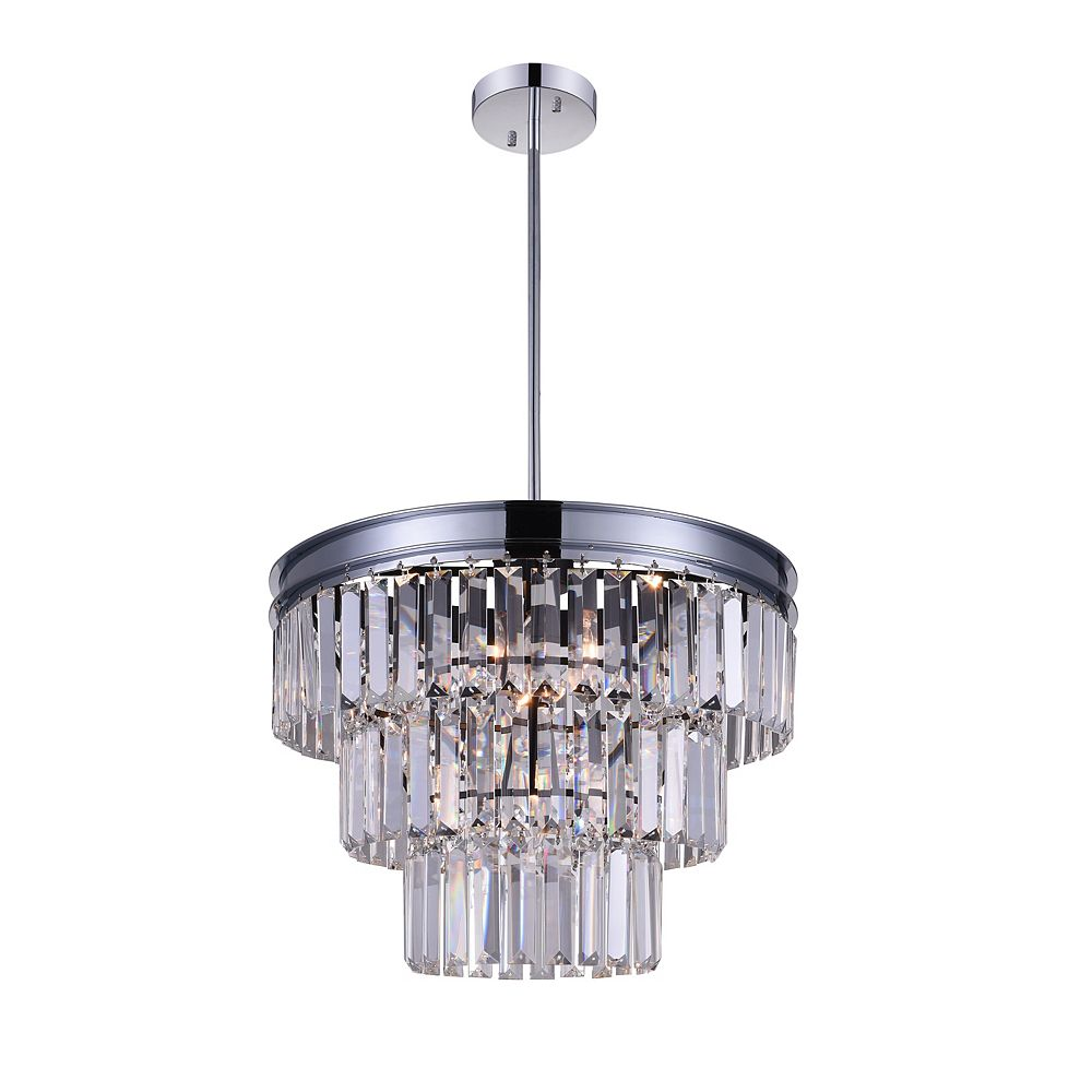 CWI Lighting Weiss 18 inch 5 Light Chandelier with Chrome Finish